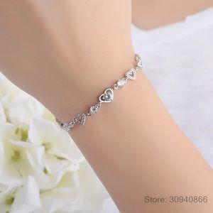 New 925 Sterling Silver heart Bracelet